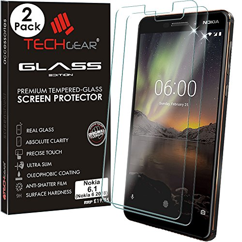 TECHGEAR [2 Pack Nokia 6.1 GLASS Edition Genuine Tempered Glass Screen Protector Guard Covers (Nokia 6 2018) from TECHGEAR