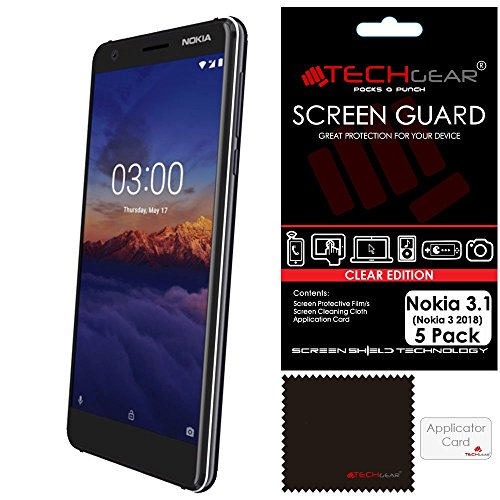TECHGEAR [5 Pack] Screen Protectors for Nokia 3.1 - Clear Lcd Screen Protectors Cover Guards Compatible with Nokia 3.1 from TECHGEAR