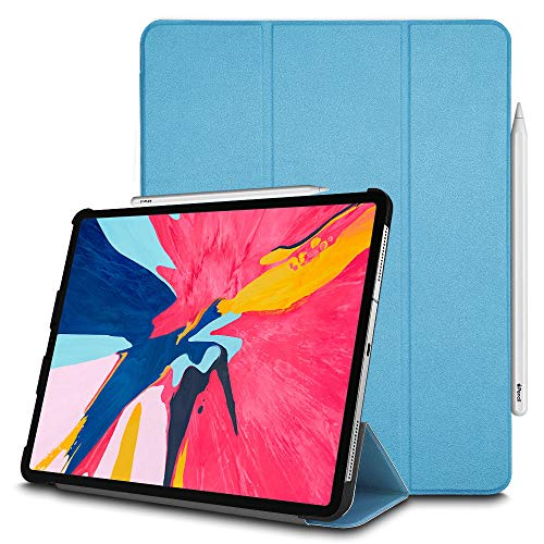 TECHGEAR Smart Case fits New Apple iPad Pro 12.9 2018, [Apple Pencil Compatible] Smart Case Tri-fold Stand Cover with Corner Protection [Auto Wake/Sleep] for iPad Pro 12.9 Inch 2018 ONLY -Light Blue from TECHGEAR