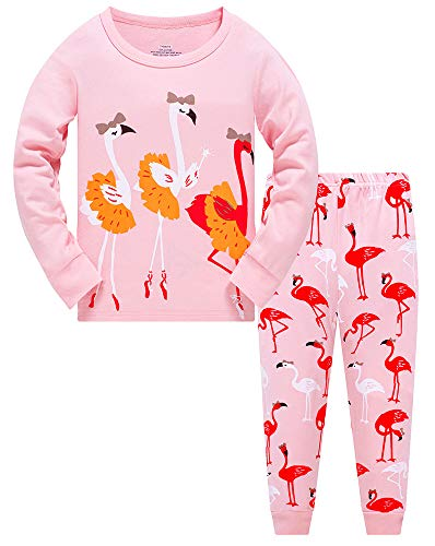 Girls Pyjamas Set Toddler Clothes 100% Cotton Sleepwear Animal Printed Pink Flamingos Nightwear Winter Long Sleeve PJs 2 Piece Outfit for Kids Age 1-7 Years (Flamingos, 1-2 Years) from TEDD
