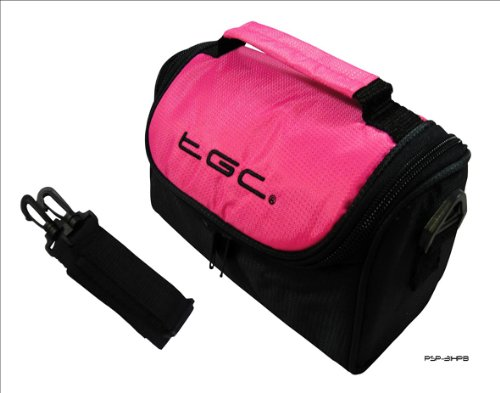 Hot Pink & Black Carry Case Shoulder Bag for theToshiba CAMILEO S30 Camcorder from TGC ®