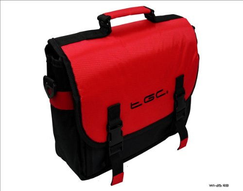 New TGC Red & Black Nintendo Wii Messenger Style Console In Car Carry Case Bag from TGC ®