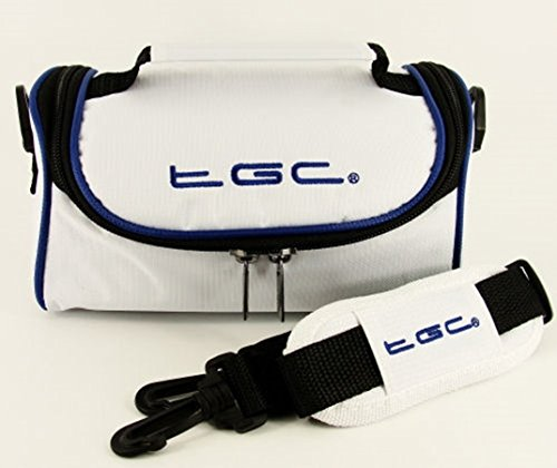 Panasonic Lumix DMC-GM1, DMC-GM5 Camera Case Bag by TGC ® with shoulder strap and Carry Handle (Cool White With Dreamy Blue Trims) from TGC ®