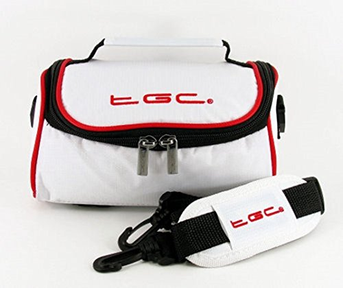 Panasonic SDR-H100, SDR-S45, SDR-S70, SDR-T70 Camera Case Bag by TGC ® with shoulder strap and Carry Handle (Cool White With Crimson Red Trims) from TGC ®
