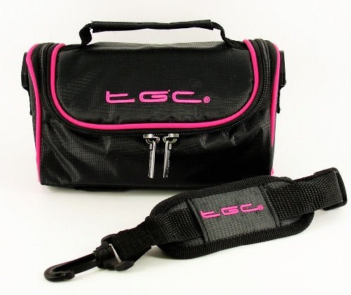 TGC ® Camera Case for Fujifilm Zoom Date 60 with shoulder strap and Carry Handle (Jet black & Hot Pink) from TGC ®