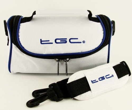 TGC ® Camera Case for HP PhotoSmart 318 with shoulder strap and Carry Handle (Cool White & Dreamy Blue) from TGC ®