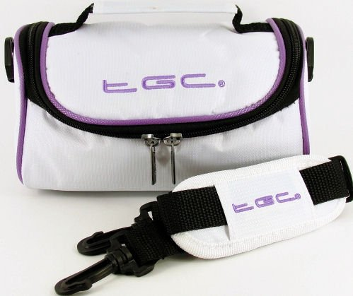 TGC ® Camera Case for NIKON COOLPIX L30,P340 with shoulder strap and Carry Handle (Cool White & Electric Purple) from TGC ®