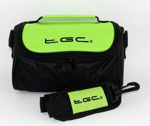 TGC ® Camera Case for Nikon Coolpix S10 with shoulder strap and Carry Handle (Electric Green & Black) from TGC ®