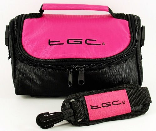 TGC ® Camera Case for Olympus Accura Zoom 130S QD with shoulder strap and Carry Handle (Hot Pink & Black) from TGC ®