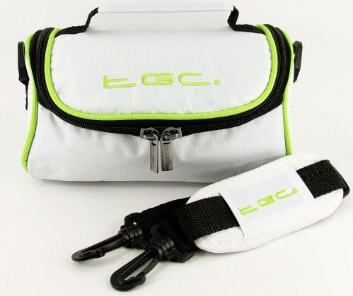 TGC ® Camera Case for Olympus CAMEDIA C-3020 Zoom with shoulder strap and Carry Handle (Cool White & Dreamy Green) from TGC ®
