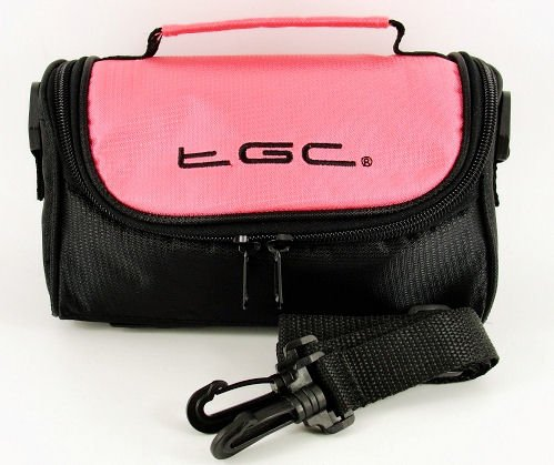 TGC ® Camera Case for Panasonic Lumix DMC-G1KEG-R with shoulder strap and Carry Handle (Pale Pink & Black) from TGC ®