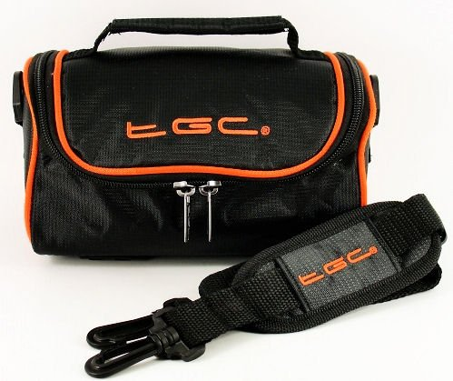 TGC ® Camera Case for Panasonic Lumix DMC-GF2C with shoulder strap and Carry Handle (Jet black & Hot Orange) from TGC ®