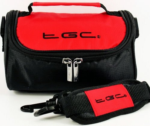 TGC ® Camera Case for Panasonic Lumix DMC-GH1KEG9R with shoulder strap and Carry Handle (Crimson Red & Black) from TGC ®