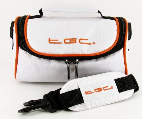 TGC ® Camera Case for Pentax ESPIO 928M Date with shoulder strap and Carry Handle (Cool White & Hot Orange) from TGC ®