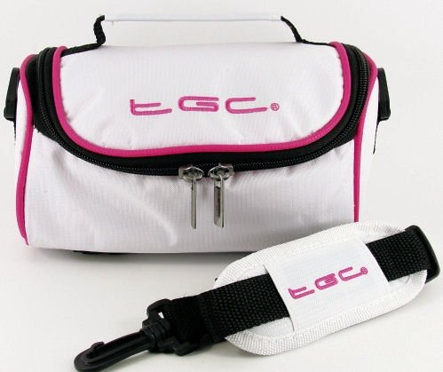 TGC ® Camera Case for Polaroid X530 with shoulder strap and Carry Handle (Cool White & Hot Pink) from TGC ®