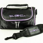 TGC ® Sat Nav GPS Case/Bag for Road Angel Gem+ with Carry Handle (Black with Purple trim) from TGC ®