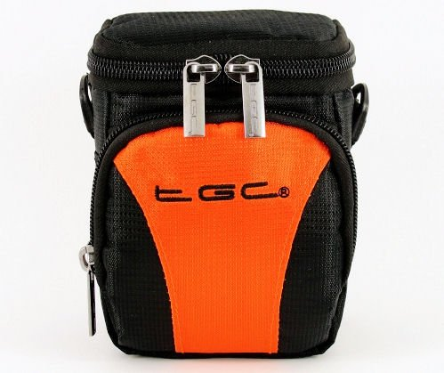 The TGC ® Hot Orange & Black Deluxe Compact Shoulder Carry Case Bag for the FujiFilm FinePix F660EXR Camera from TGC ®