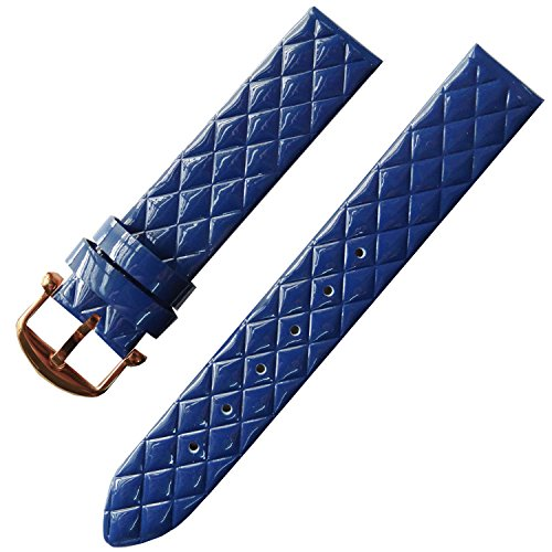 16mm Womens Candy Color Patent Leather Wrist Watch Strap Band Rose Gold Buckle (Blue) from TIME4BEST