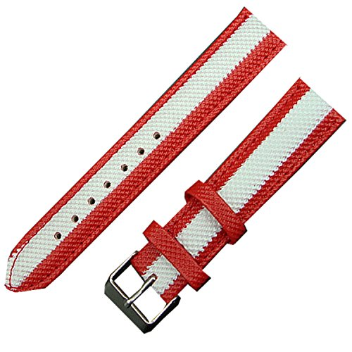 New Stripe 22mm Nylon Fabric Canvas Watch Strap Band Sports Military Army (Red) from TIME4BEST