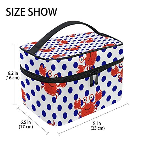 TIZORAX Nautical Red Crabs Blue Polka Dots Large Cosmetic Bag Travel Makeup Organizer Case Holder for Women Girls from TIZORAX
