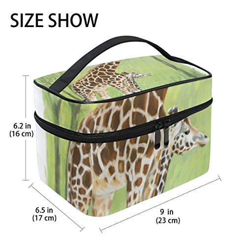 TIZORAX Two Giraffes Large Cosmetic Bag Travel Makeup Organizer Case Holder for Women Girls from TIZORAX