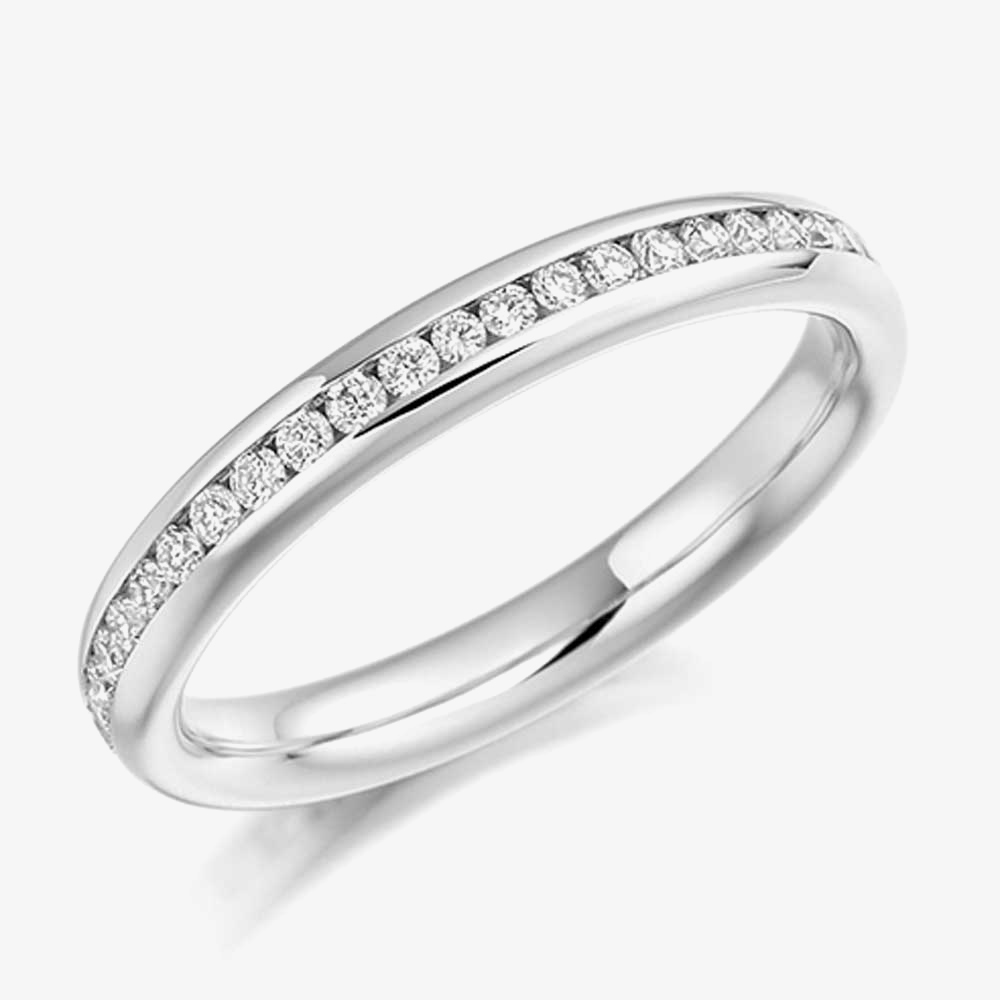 18ct White Gold 0.50ct Channel Set Round Brilliant Full Eternity Ring FET889 18W M from Gold Impression