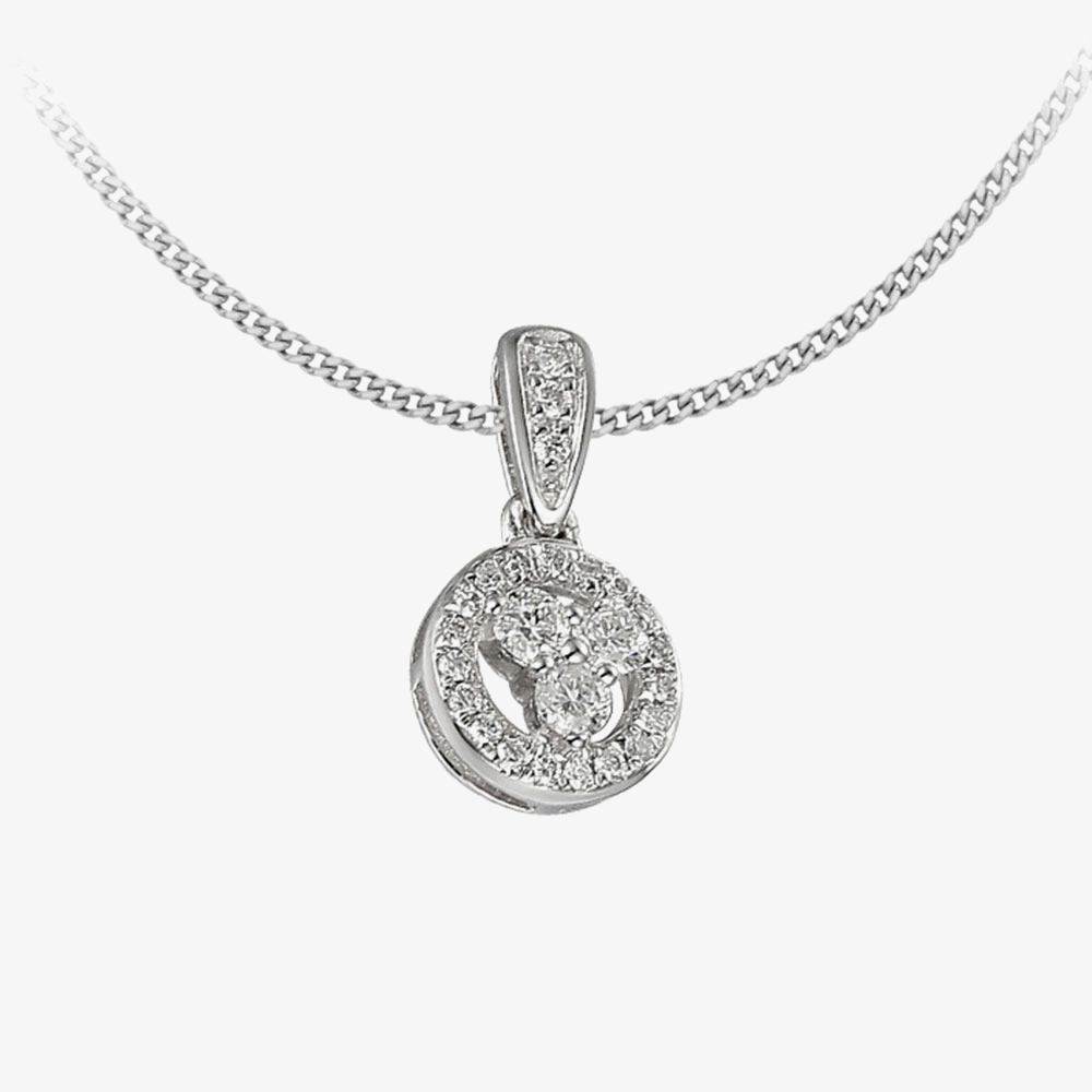 18ct White Gold Diamond Open Circle Pendant PEN59296/16 from Gold Impression