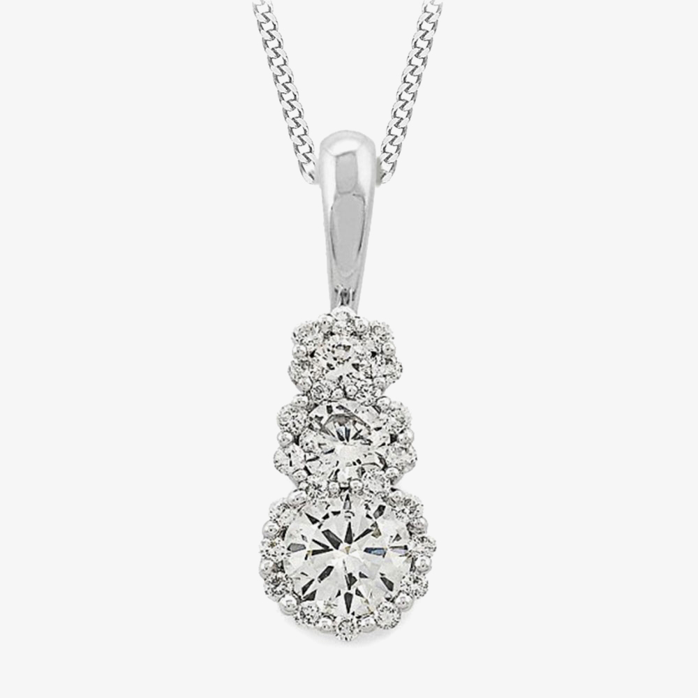 18ct White Gold Diamond Triple Pendant 33.08101.004 from Gold Impression