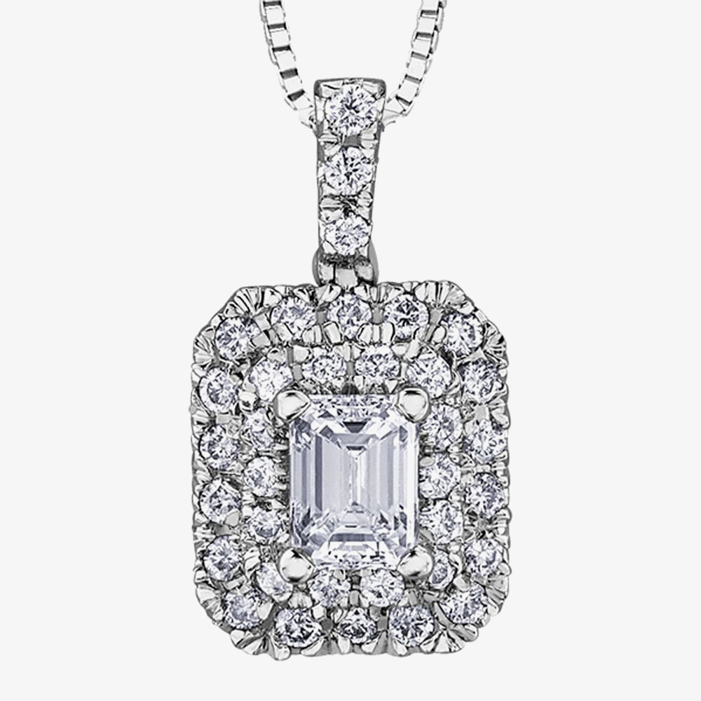 18ct White Gold 0.50ct Emerald-cut Diaond Halo Cluster Pendant P3780W/50-18 from Gold Impression