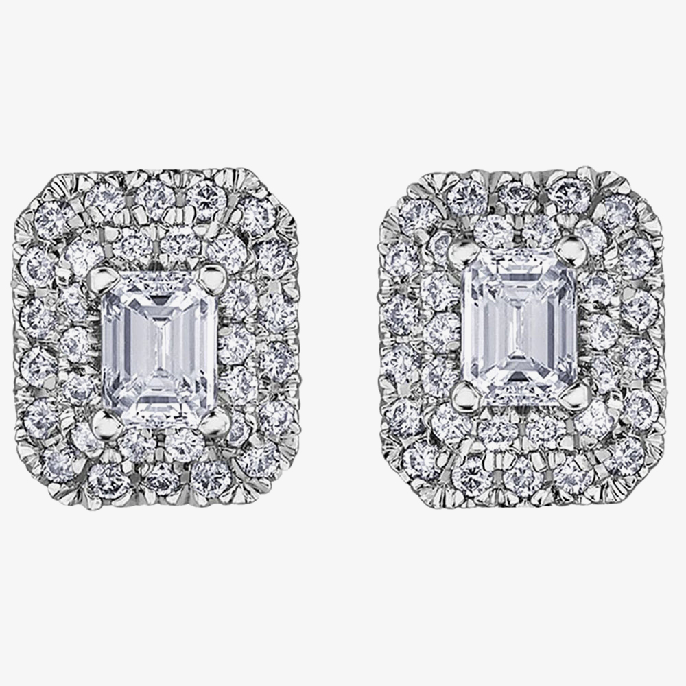 18ct White Gold 0.75ct Emerald-cut Diamond Halo Cluster Stud Earrings E3780W/75-18 from Gold Impression