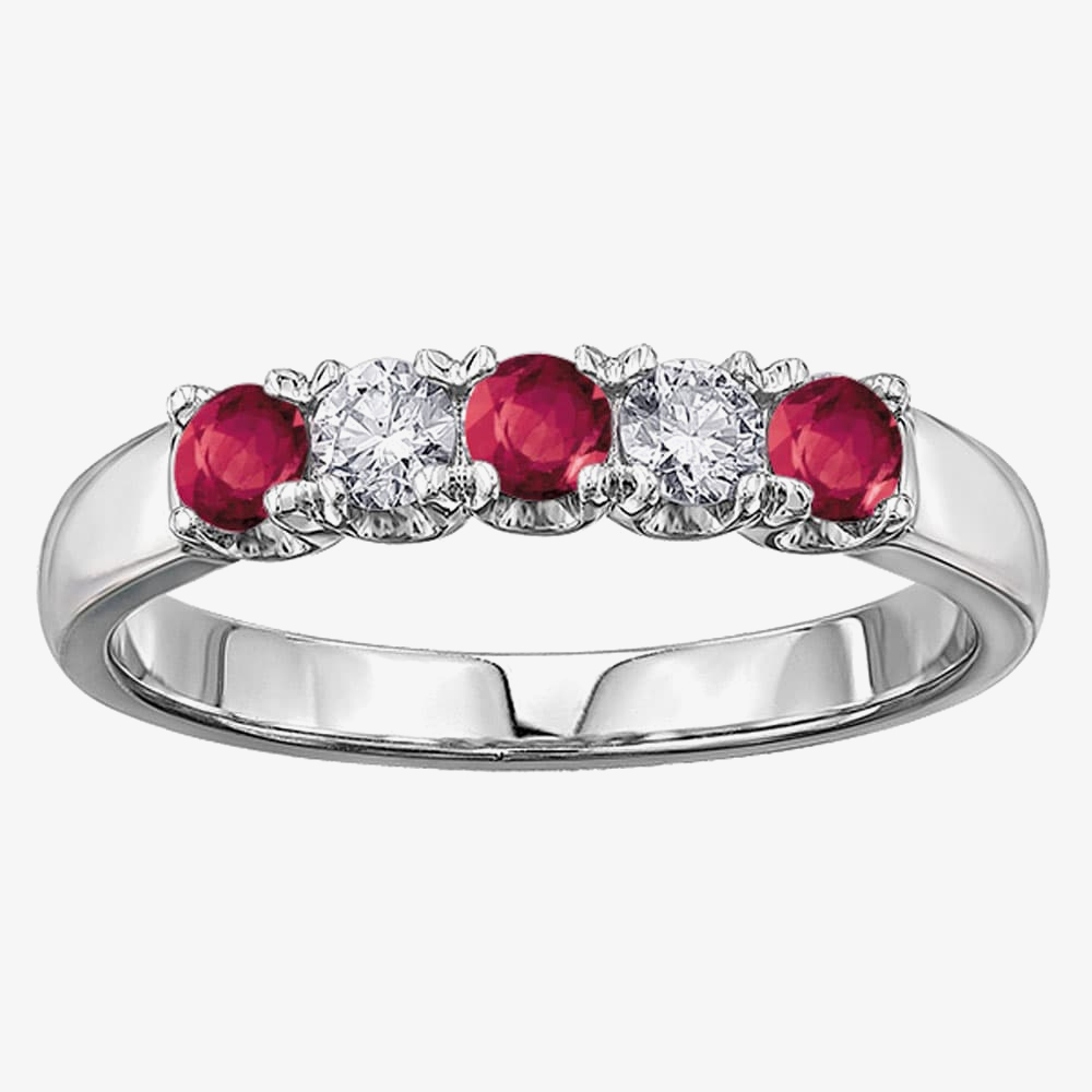 18ct White Gold Ruby and Diamond Half Eternity Ring 50J03WG/75-18 RBY M from Gold Impression