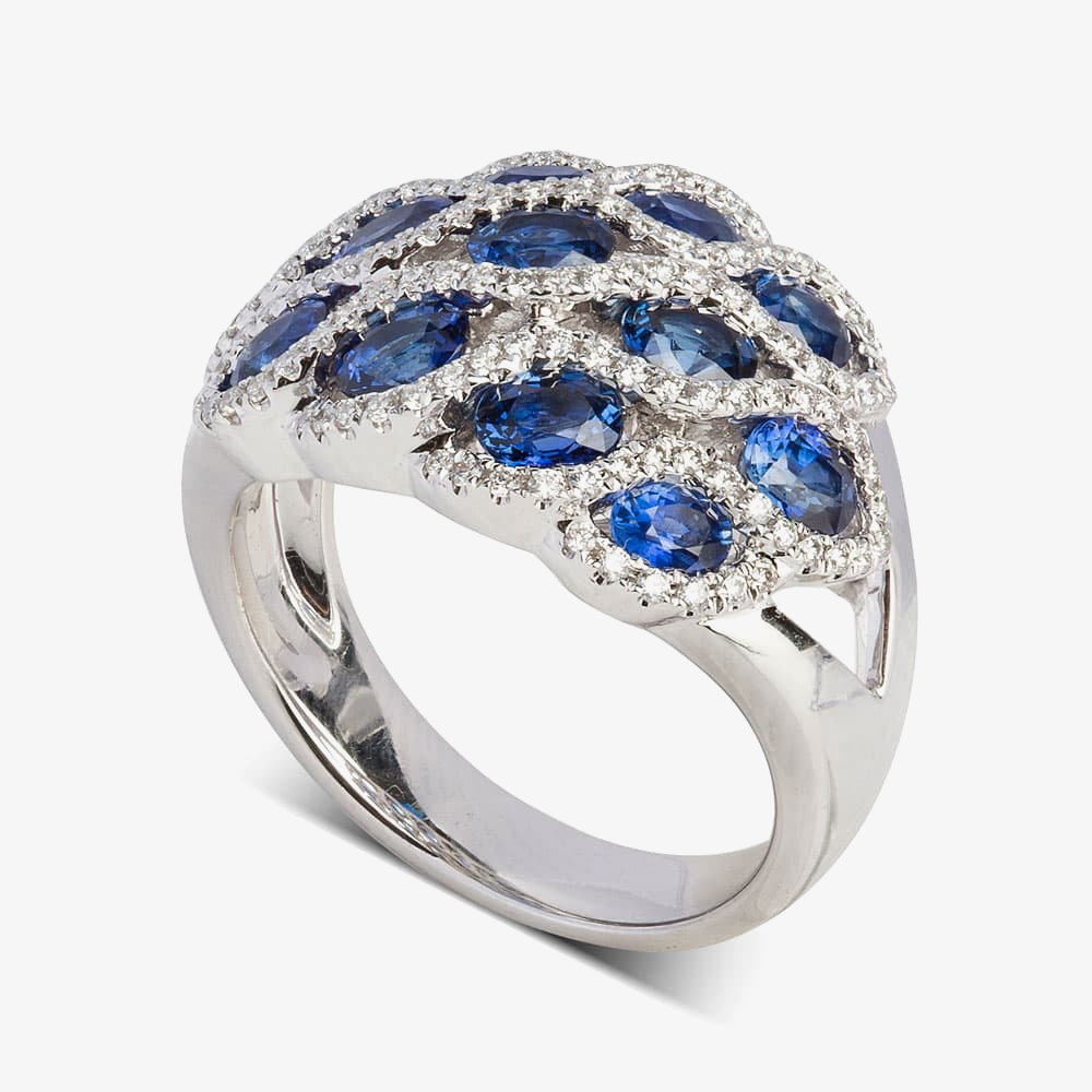 18ct White Gold Marine Sapphire and Diamond Wave Cluster Ring LG193/RA(BS) N from Gold Impression