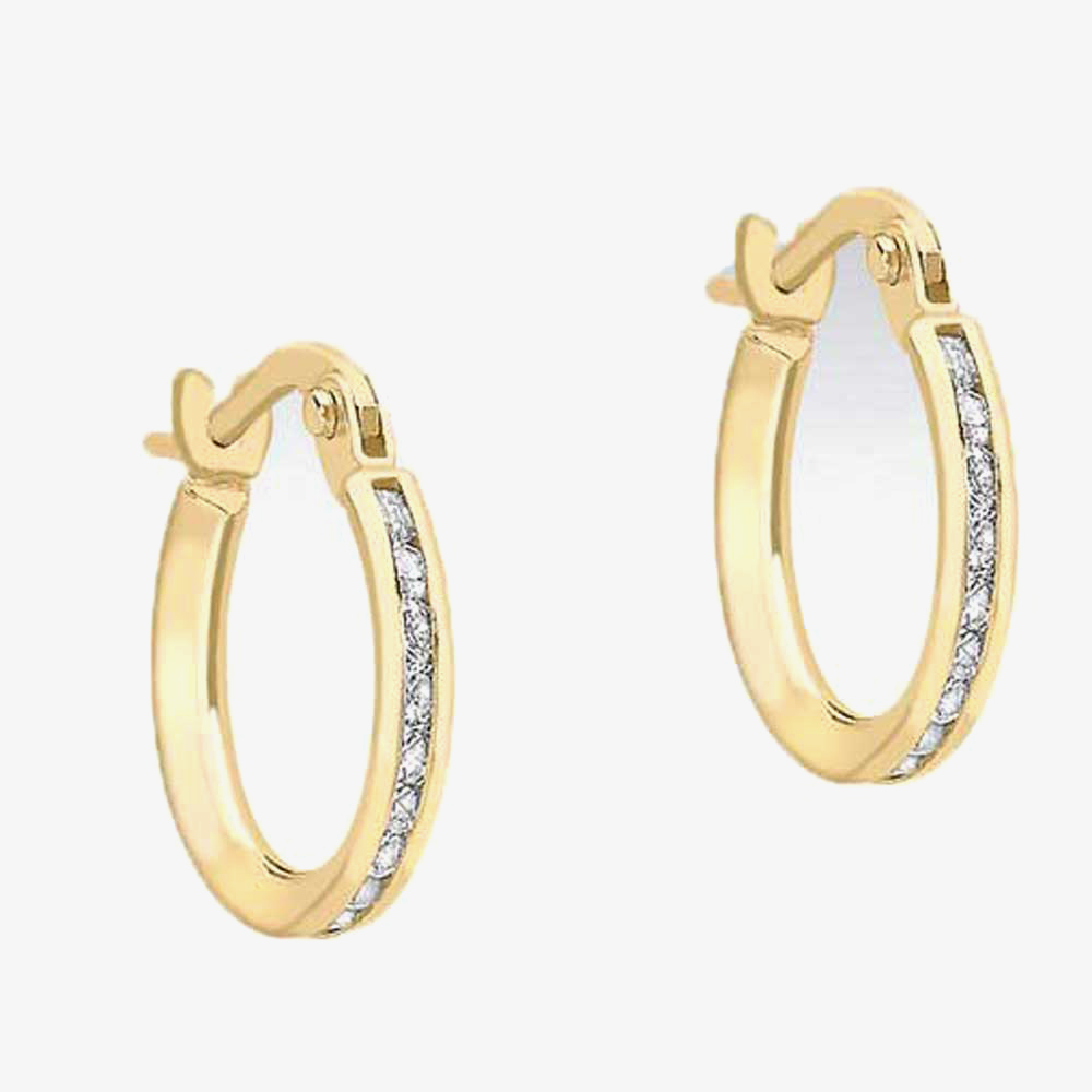 9ct 14mm CZ Set Creole Earrings 1.58.8359 from Gold Impression