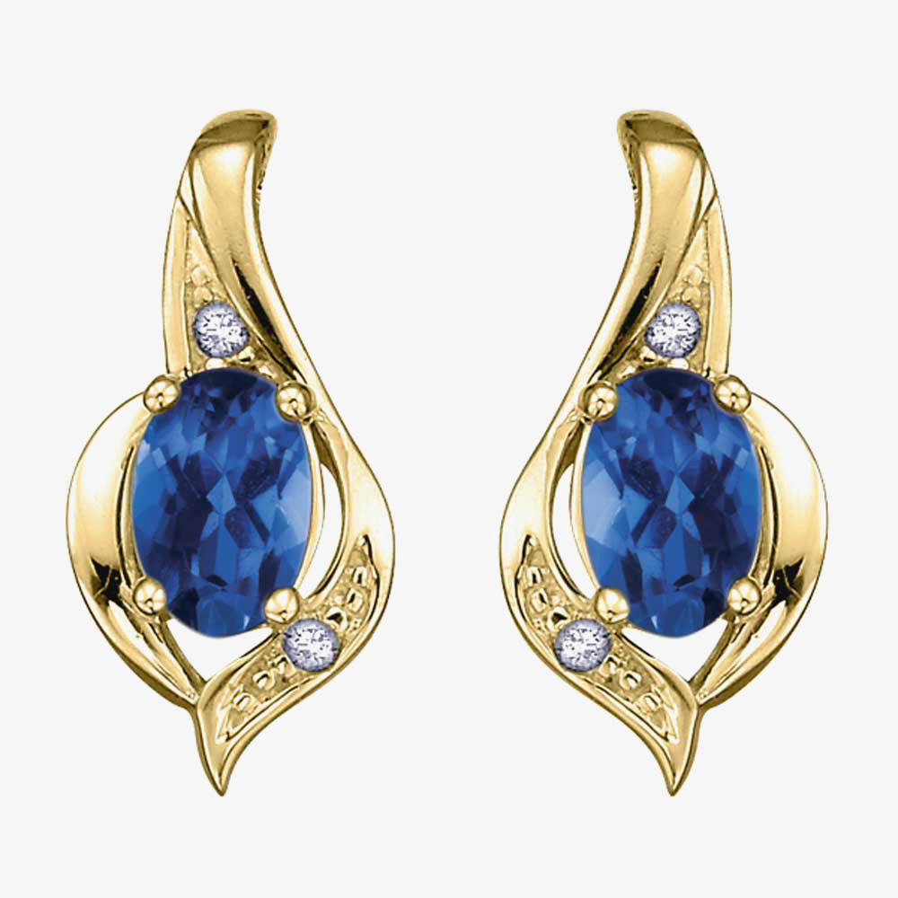9ct Yellow Gold Sapphire and Diamond Swirl Stud Earrings E1860/9-10 from Gold Impression