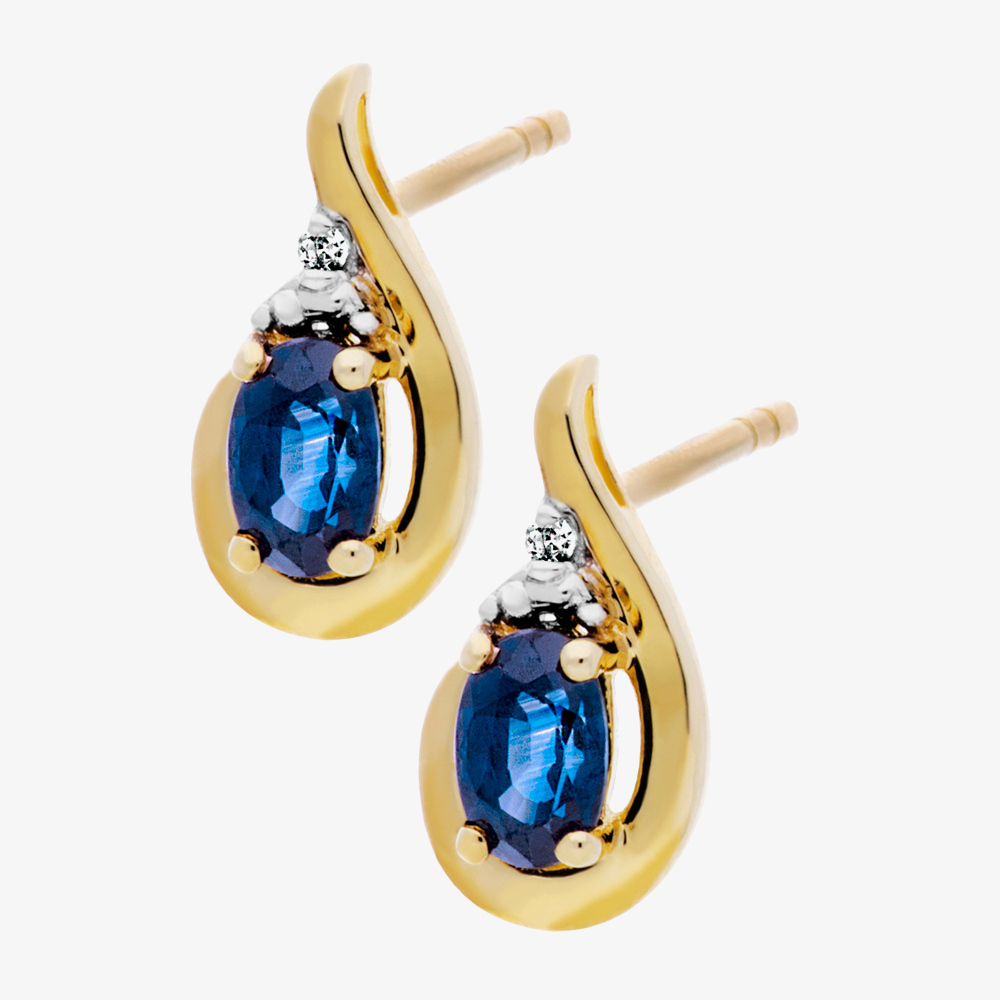 9ct Diamond Sapphire Swirl Stud Earrings BSE0007E from Gold Impression