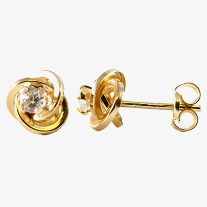 9ct Gold Clear CZ Knot Stud Earrings 1570213 from Gold Impression