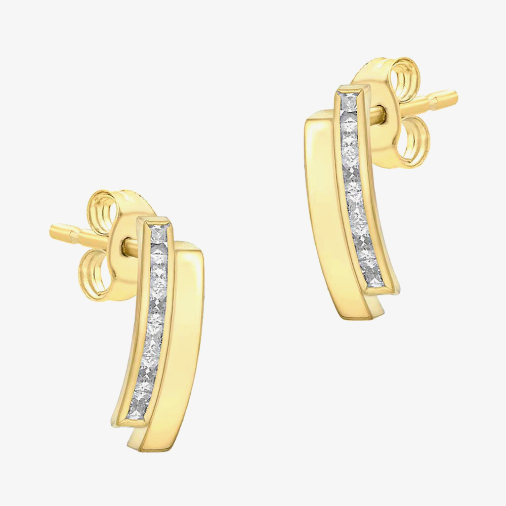 9ct Gold Double Bar Cubic Zirconia Earrings 1.58.9579 from Gold Impression