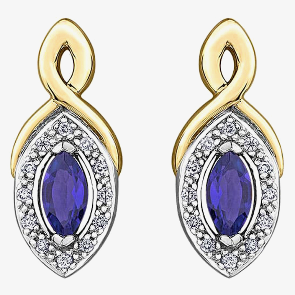 9ct Gold Marquise-cut Sapphire and Diamond Stud Earrings E3704-10 SAPH from Gold Impression
