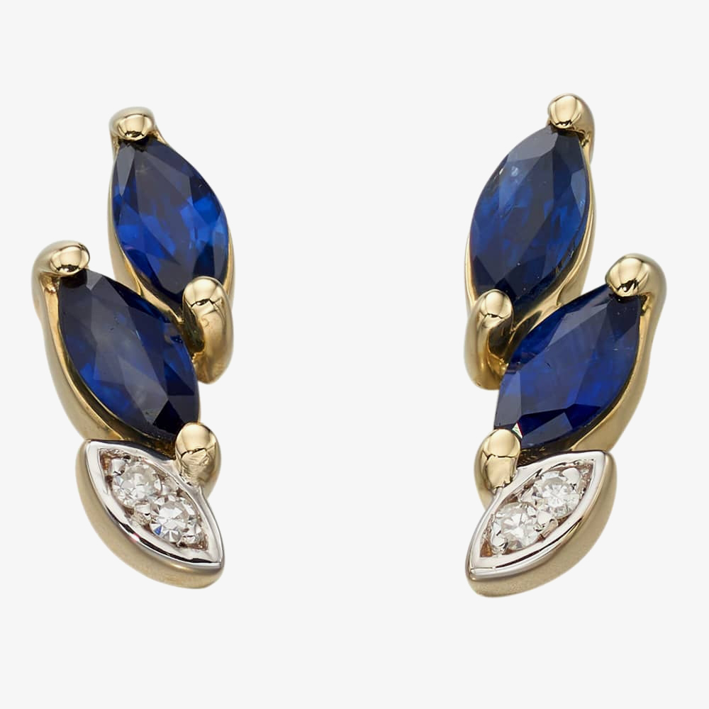9ct Gold Sapphire And Diamond Marquise Stud Earrings GE2191L from Gold Impression
