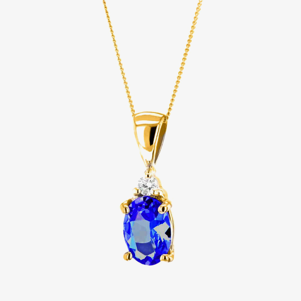 9ct Sapphire and Diamond Oval Pendant K40-9455-02 from Gold Impression