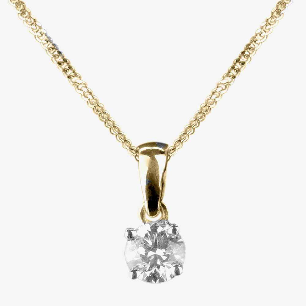 9ct Yellow Gold 0.33ct Claw-set Diamond Pendant 1304P/9Y/DQ1033 from Gold Impression
