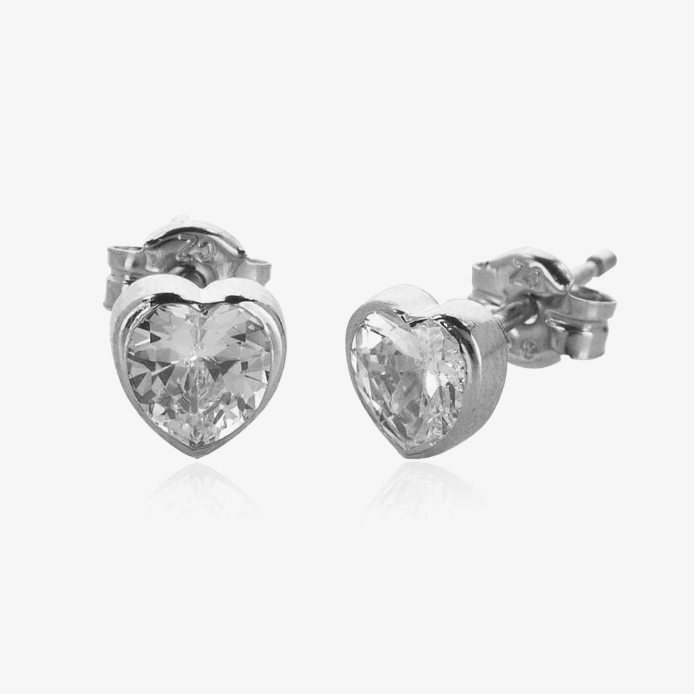 9ct White Gold Cubic Zirconia Heart Stud Earrings 5.57.0183 from Gold Impression