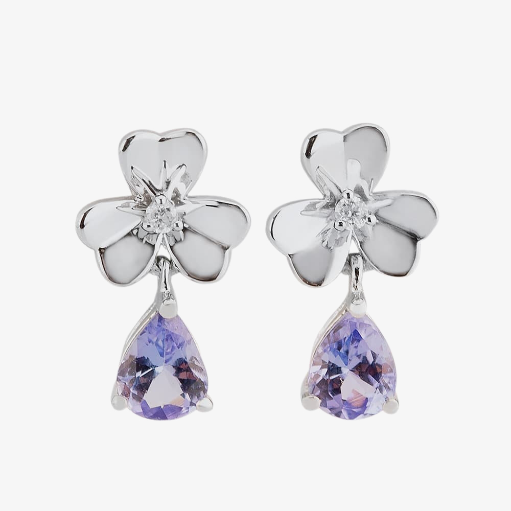 9ct White Gold Diamond And Tanzanite Flower Dropper Earrings CY308E-T2A 9KW from Gold Impression