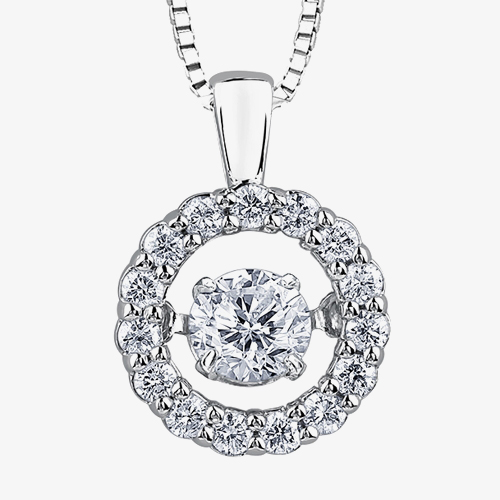 9ct White Gold 0.35ct Diamond Pulse Halo Pendant P3066W/35-10 from Gold Impression