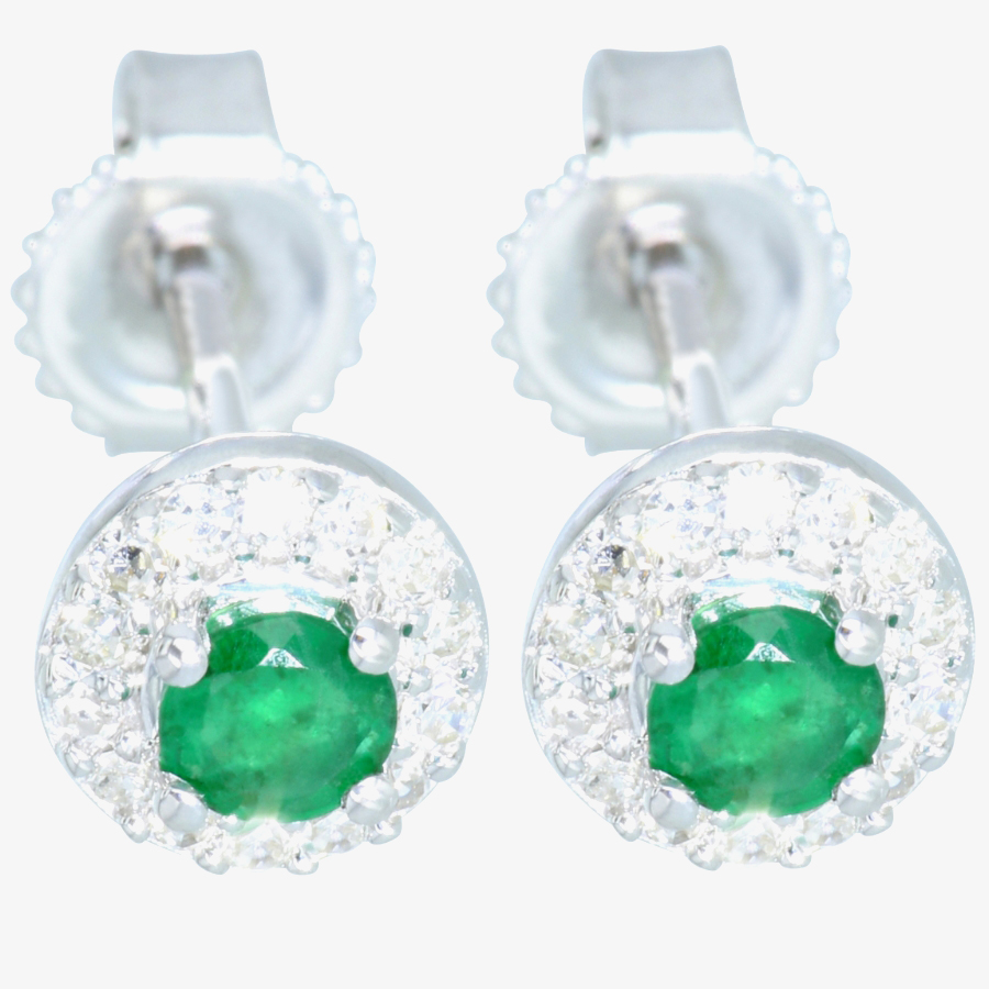 9ct White Gold Diamond Emerald Earrings GE888G from Gold Impression