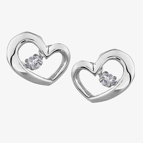 9ct White Gold 0.10ct Diamond Pulse Open Heart Stud Earrings E3113W/10-9 from Gold Impression