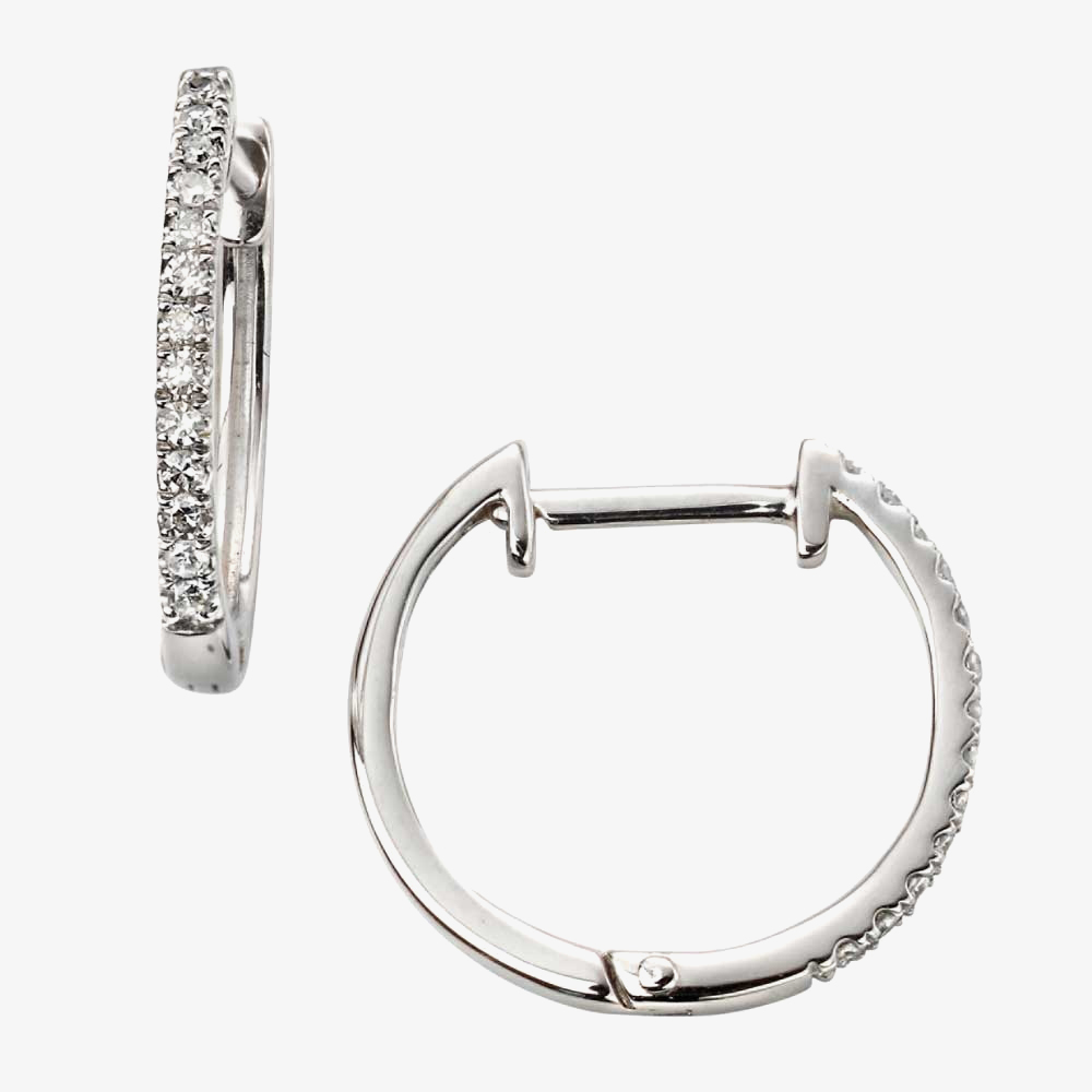 9ct White Gold Diamond Huggie Earrings GE2106 from Gold Impression