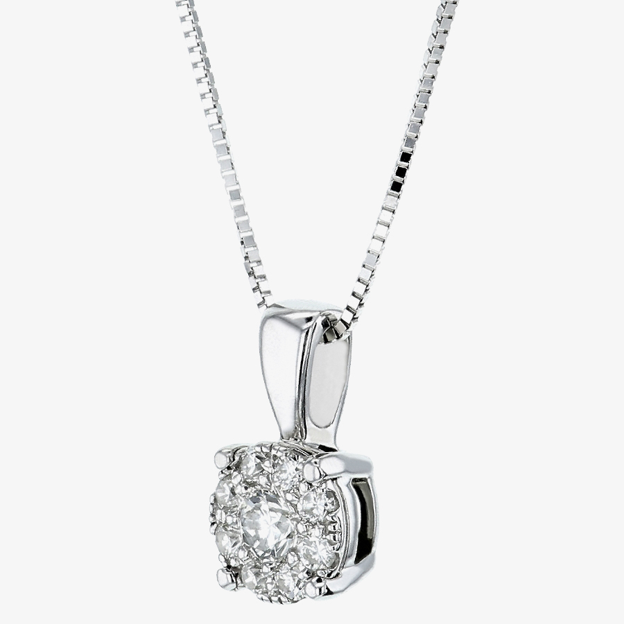 9ct White Gold 0.13ct Diamond Round Cluster Pendant P2382W/13-9 from Gold Impression