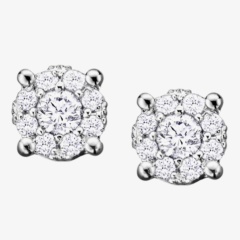 9ct White Gold 0.18ct Diamond Round Cluster Stud Earrings E2382W/18-9 from Gold Impression