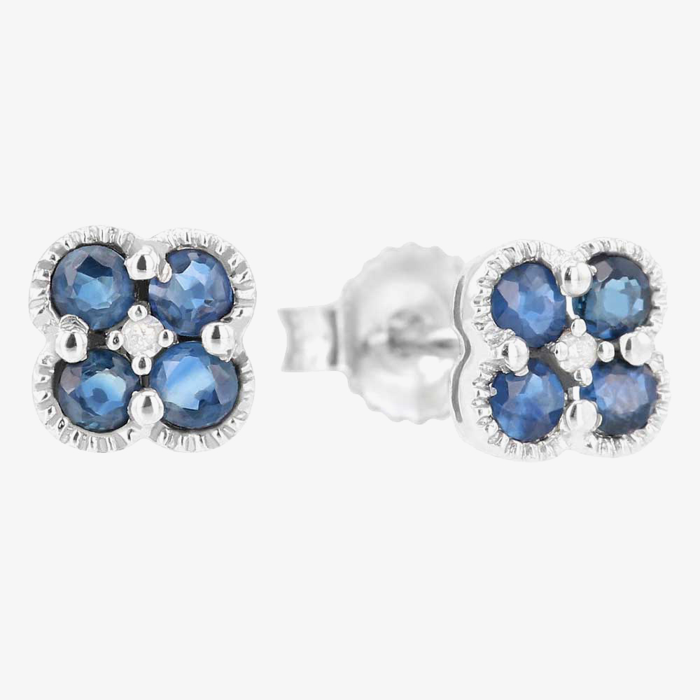 9ct White Gold Diamond Sapphire Flower Stud Earrings VE0S141 9KW-SAPH from Gold Impression